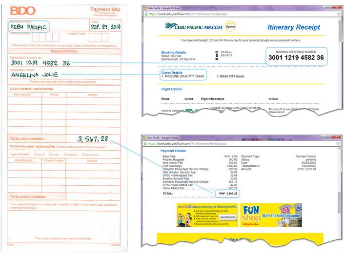 Cebu Pacific Over the Counter Payment at BDO